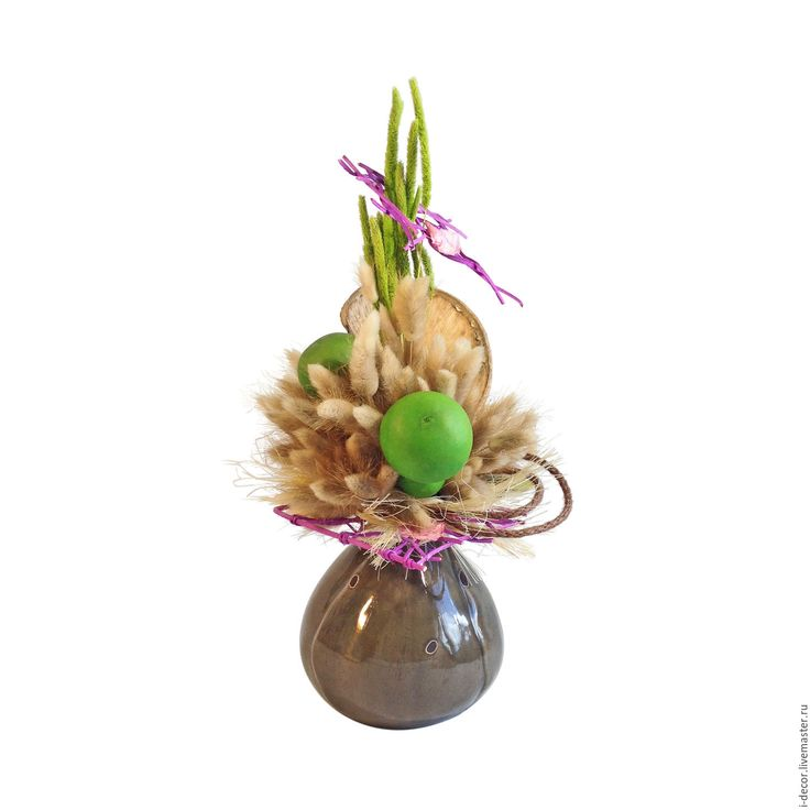 Купить Интерьерная композиция из сухоцветов. Шары, вегетатив. - салатовый, сухоцветы, флористическая композиция, интерьерная композиция