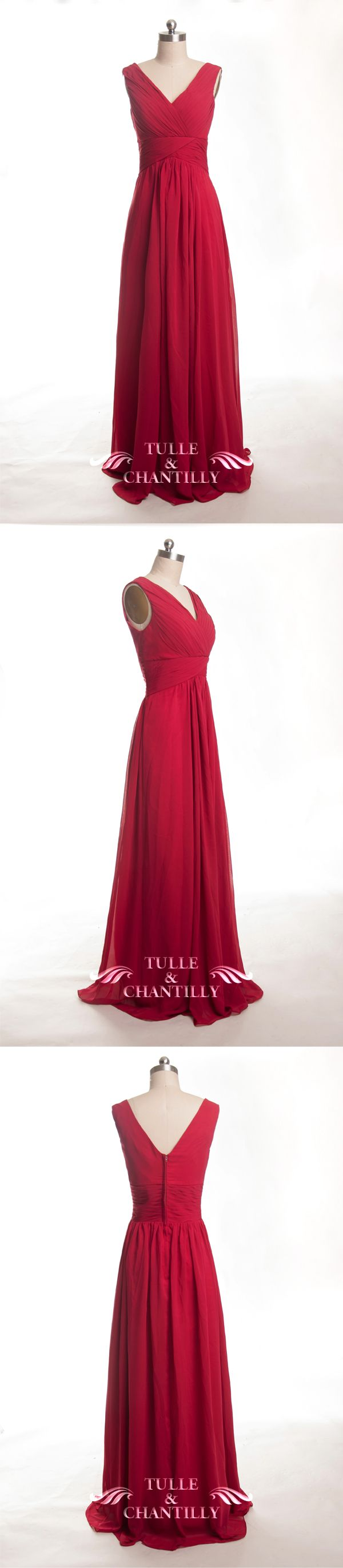 ruby red chiffon bridesmaid dresses with v neck