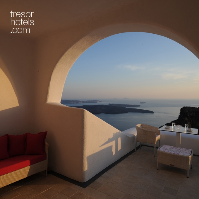 Trésor Hotels and Resorts_Luxury Boutique Hotels_#Greece_ If you are looking for total privacy and isolation then select an #Astra superior suite. They are located in various levels of the hotel and designated to provide you with high quality services. Your full view to the volcano, the #Aegean sea and the sunsets is a guarantee.
