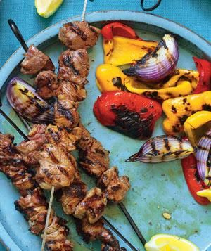 Lemony Grilled Lamb Kebabs and Vegetables