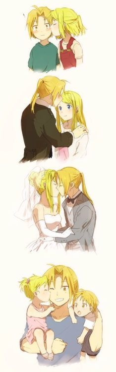 Ed, Winry and kids. (Fullmetal Alchemist) <----- this is one of the happiest pins I've ever seen :,)