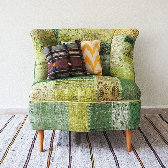 Green Armless Patchwork Chair Covered with Overdyed Vintage Rug, Pistachio Green and Cucumber Green, Wooden Furniture