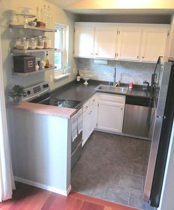 17 best ideas about small kitchen designs on pinterest for Tiny kitchen layout ideas