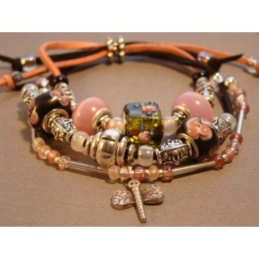 eBracelets Exotic Dragonfly (faux) Leather Bracelet Charm, Leather, Wrap Bracelets