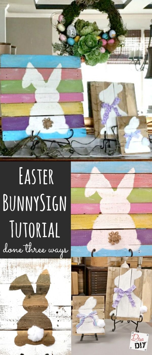 Rustic reclaimed wood signs are all the rage! Using pallet wood makes these signs a cheap and easy DIY to add to your Easter Decorations. Easter Bunny Sign! http://divaofdiy.com/easter-decorations-rustic-bunny-sign/