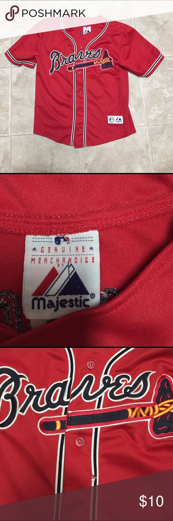 Atlanta Braves shirt Red Atlanta Braves short sleeve boys shirt. Small tear in front and pen mark near top. Not very noticeable. majestic genuine merchandise Shirts & Tops Button Down Shirts