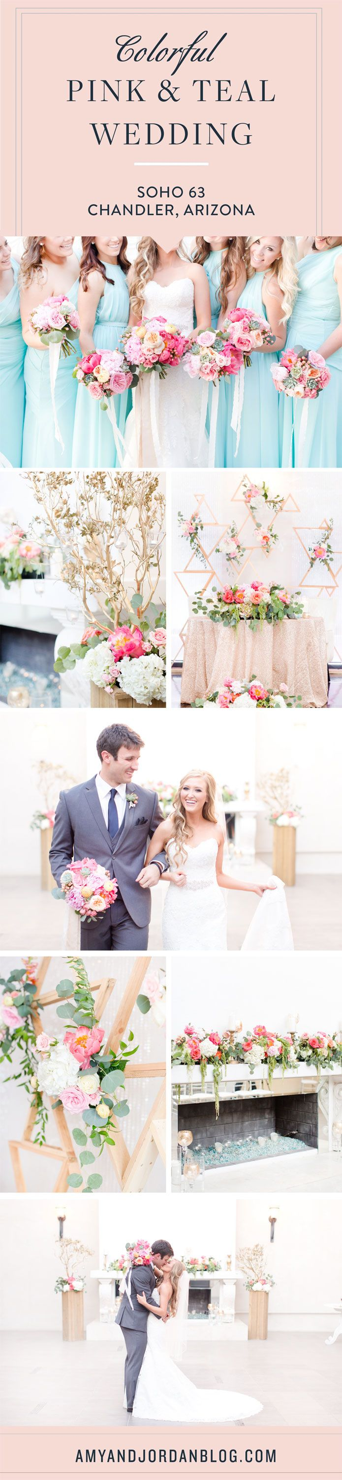Colorful teal and blush Soho 63 wedding, in Chandler, Arizona. Gorgeous blush florals with pops of pink and lovely succulents were paired perfectly with long teal bridesmaids dresses.  And the guys wore grey suits which completed this perfect pallet.