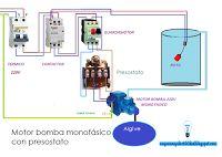 Esquemas eléctricos: Motor bomba monofásico con presostato