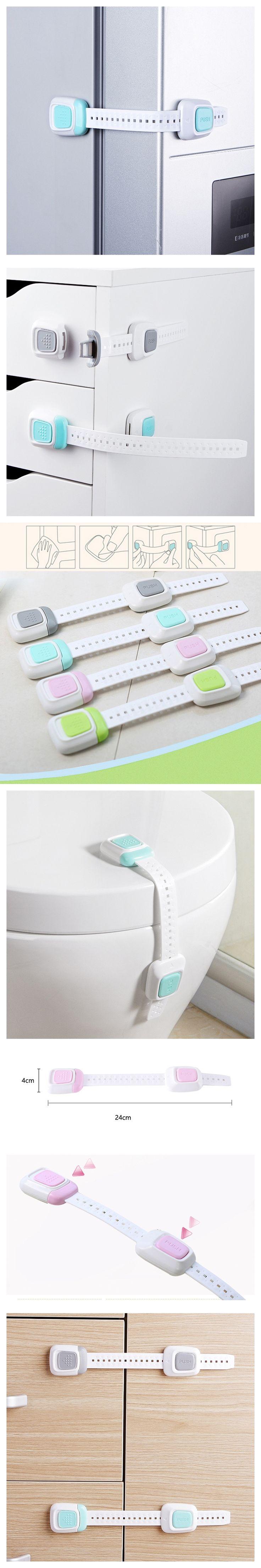 12Pcs Multi-function Double Button Children 's Security Lock Baby Protective Equipment Anti-folder Hand Refrigerator Lock
