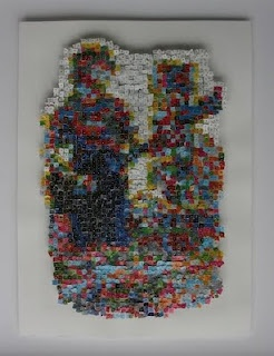 """Lesley Melody """"Things to do with a Woman's Weekly"""". Paper mosaic."""