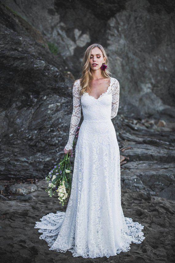 Open Back Wedding Dress Long Sleeve Wedding Dress Sweetheart