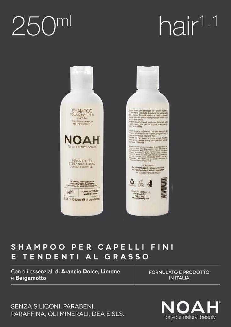 NOAH Shampoo per #capelli fini e tendenti al grasso. Senza siliconi, parabeni, paraffina, oli minerali DEA e #SLS. €.5.95