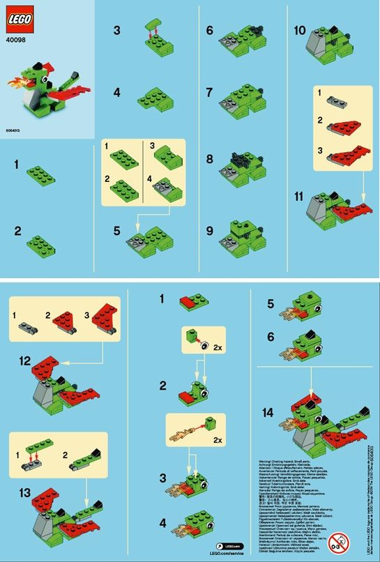 Lego mini dragon instructions lego pinterest lego for How to build a house step by step instructions