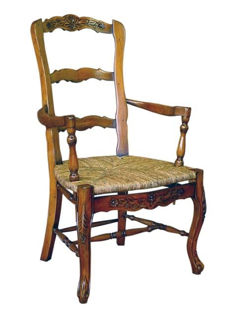 French Country Carver Chair. #HandmadeFurniture from solid Mahogany wood with #RushSeat by #sokokayu