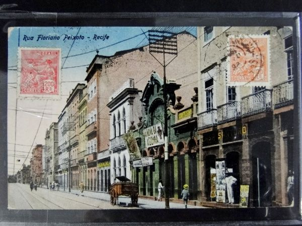 Postal de Pernambuco, Rua Floriano Peixoto-Recife, circulado p/ Estônia em 1927.