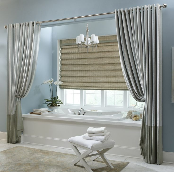 Fashionable Grey Vinyl Extra Long Shower Curtain With Over Blinds Windowed