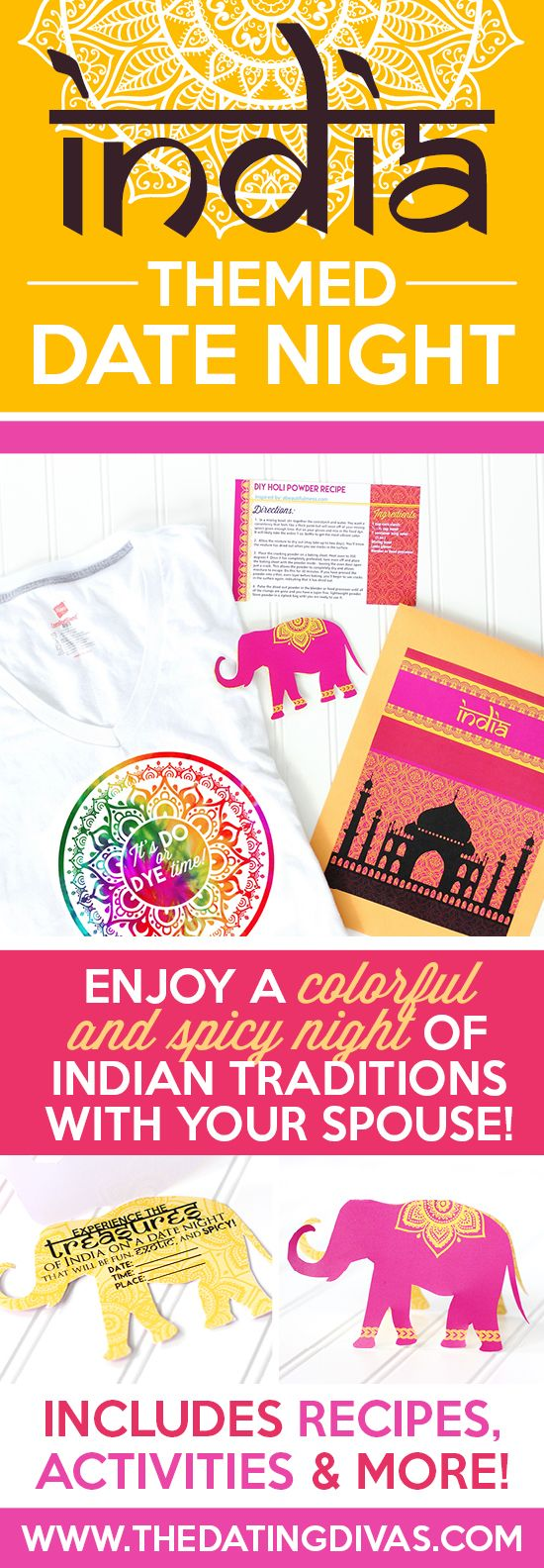 Fun printables for an Indian Date Night including an invitation, recipes cards, activity, and MORE! From www.TheDatingDivas.com