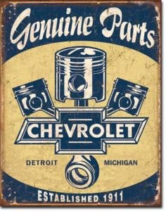 Chevrolet Chevy 1911 Genuine Parts Pistons Metal Tin Sign Auto Garage Home Decor