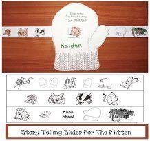 Mitten activities: FREE printables. Help your students retell Jan Brett's story The Mitten with this mitten story telling slider craft. Grahics cjanbrett at janbrett.com