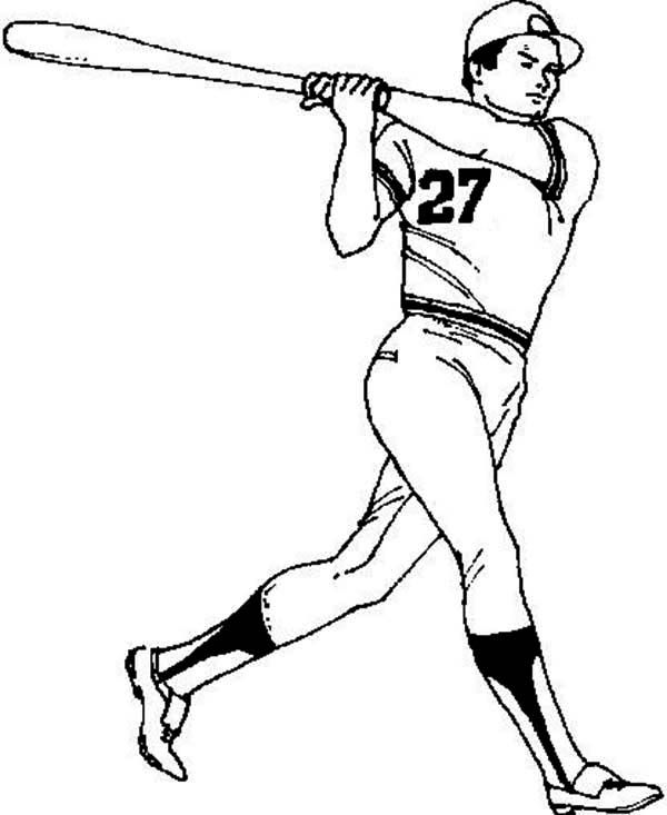 Baseball, Baseball Player Coloriage Page: Baseball Player Coloriage