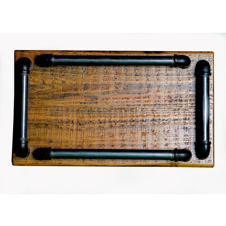 Industrial Steam Punk Tray with metal pipe handles