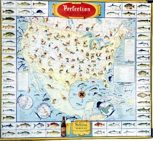 Perfection Pêche USA - American vintage poster featuring map in French with various fish species for beer commercial