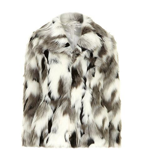 DP Collection  White and Grey Faux Fur Coat ($140)