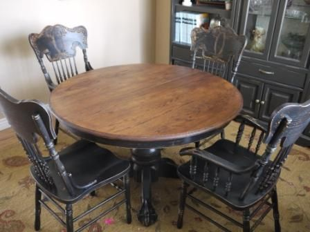 painted/distressed chairs, refinished table top w/painted & distressed table legs
