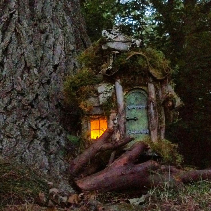 Natural finish fairy house with 2 rooms mossy comfort for Fairy house doors