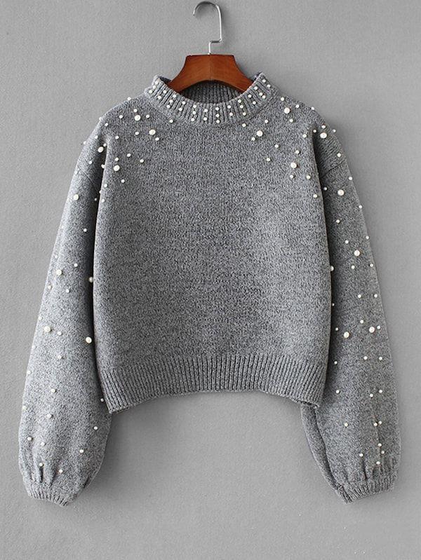 bc6d4511e7 Faux Pearl Drop Shoulder Sweater -SheIn(Sheinside) | Venus and ...