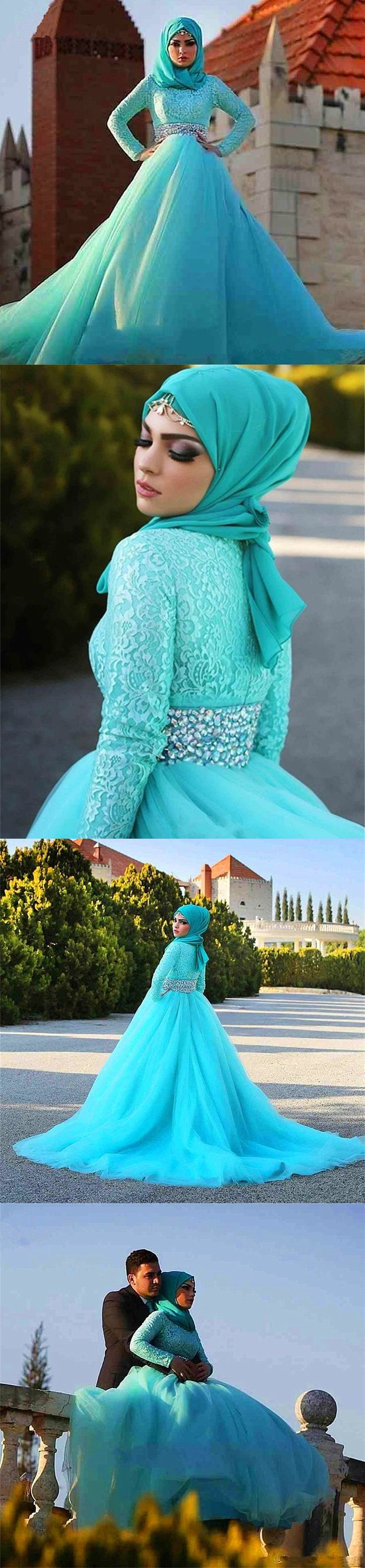 long sleeve Saudi Arabia muslim wedding dress 2016 Islamic ball gown high neck…