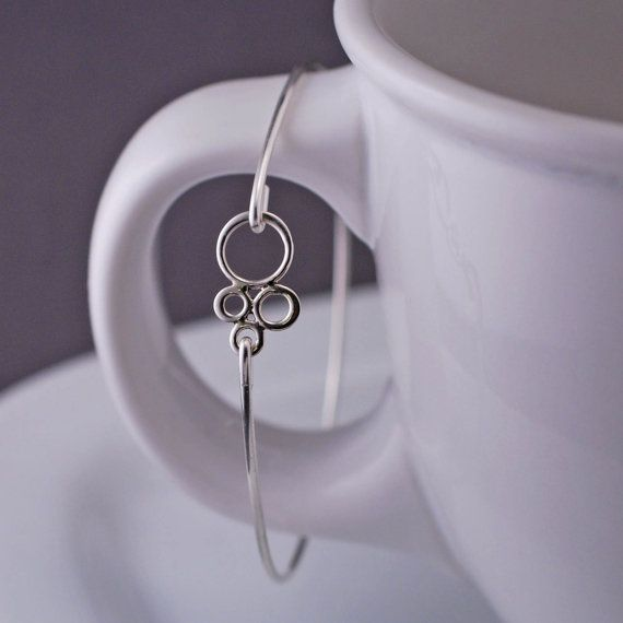 Sterling Silver Bangle Bracelet Small Bubbles by georgiedesigns