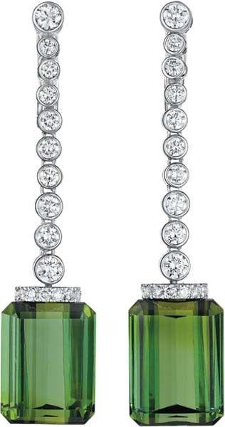 Tourmaline and Diamond earrings by Aletto Brothers: Diamonds Earrings, Earrings Aretes, Ears Pendants, Green, Aletto Brother, Diamonds Ears, White Gold, Art Deco, Fine Jewelry