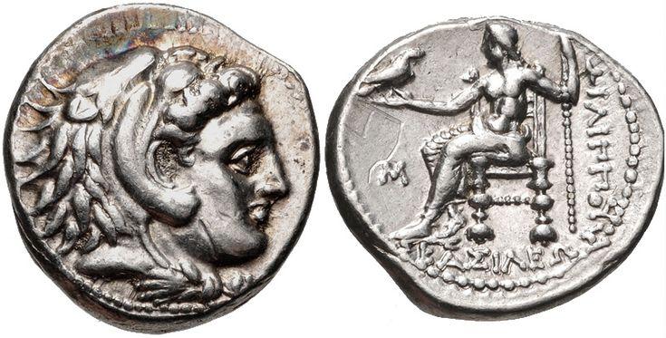Philip III Arrhidaios - Greek drachma - Philip III Arrhidaios. 323-317 BC. AR Drachm (15mm, 4.26 g, 3h). Babylon mint. Struck under Archon, Dokimos, or Seleukos I, circa 323-318/7 BCE. Head of Herakles right, wearing lion skin / Zeus Aëtophoros seated left; M in left field.