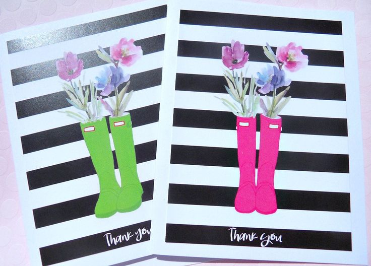 Thank You Cards - Bridal Shower Thank You Cards - Baby Shower Thank You Cards - Floral Thank You Cards -  Striped Cards - SBC by suziescards on Etsy