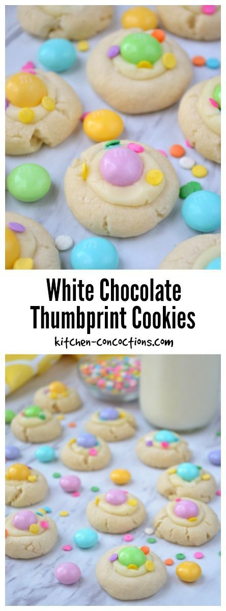 White Chocolate Thumbprint Cookies - White Chocolate Thumbprint Cookies, with a white chocolate filling, colorful sprinkles and M&M'S® White Chocolate, are an easy and festive Easter dessert recipe! {ad} #SweeterEaster @walmart