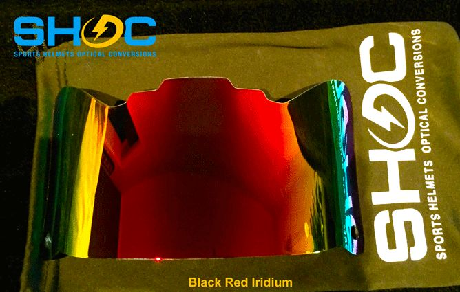 The SHOC Visor in Red and Black Iridium. The First Sports Helmet Visor made to fit BOTH Lacrosse and Football Helmets. Will fit Cascade, STX, Riddell, SCHUTT, RAWLINGS Helmets. Get your SHOC Visor today at www.SHOCVisor.com