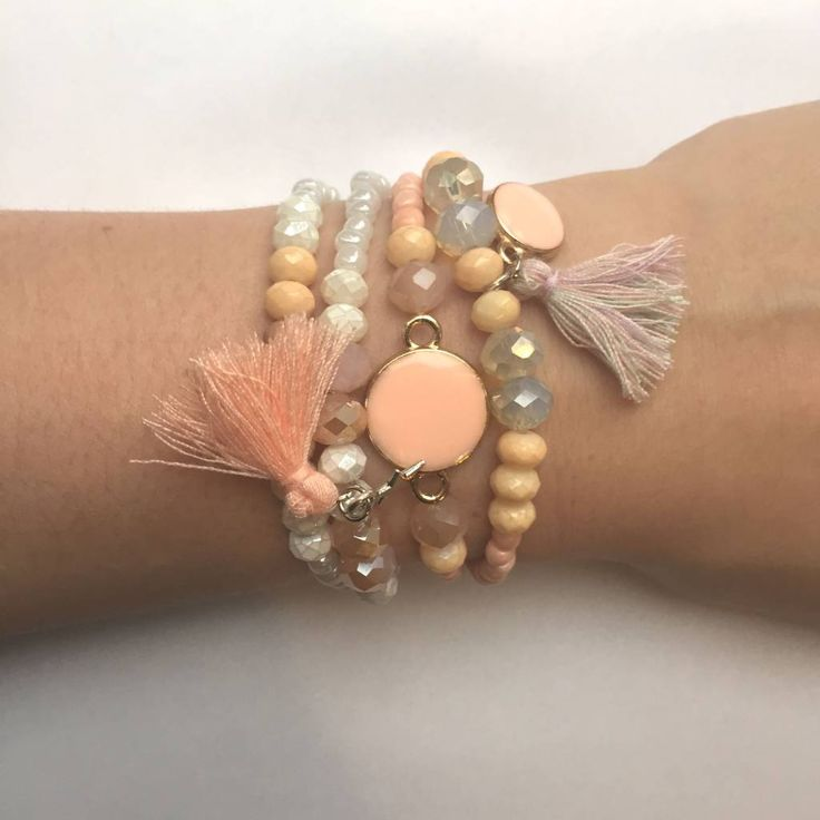Beads and Tutorial at www.BeadsandBasics.com - Salmon pink armcandy bracelets with tassel