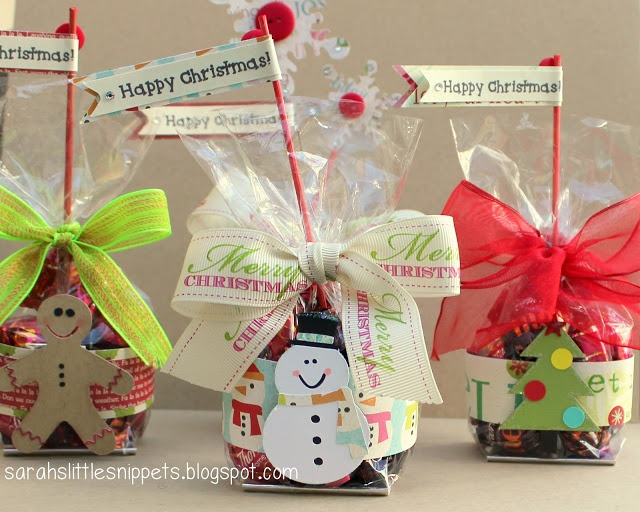 Christmas treat bags. (You could use an upside down candy cane for your flag)