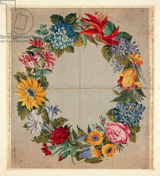 Pattern for garland of flowers, initial letters compose German word Freundschaft, Friendship, Embroidery, 19th century