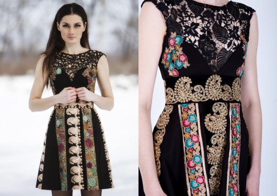Embroidery black dress by AtelierDeCoutureJK on Etsy