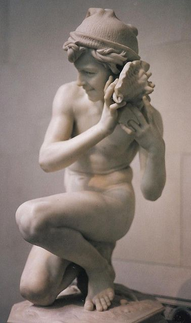 Jean-Baptiste Carpeaux: Pêcheur napolitain à la coquille (1861) - Another angles at https://www.flickr.com/photos/chilcott/4512580267/in/photostream/ (Thx Claire)