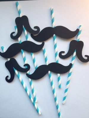 12 Blue Mustache Party Straws,Little Man First Birthday,Baby Showers,Mustache Straws,Mustache Photo Prop,Mustache Party Decor,Bachelorette. $13.99, via Etsy. by Hercio Dias
