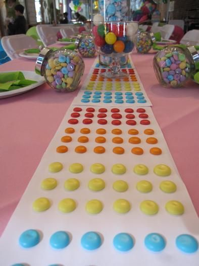 30 Candy Theme Mitzvah & Party Ideas - Candy Dot Table Runner via HWTM - mazelmoments.com