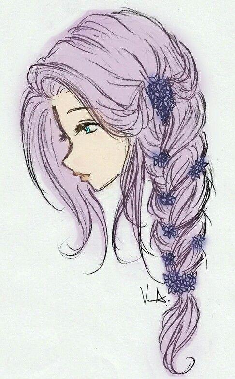 drawing girl hair - Google Search