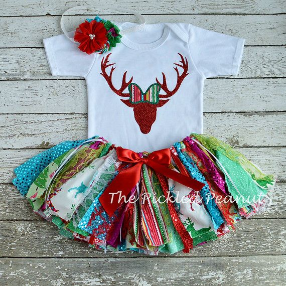 Christmas Baby Outfit Christmas Tutu 1st by ThePickledPeanut