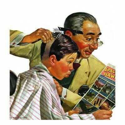 norman rockwell haircut quot comical haircut quot saturday evening post cover february 3783