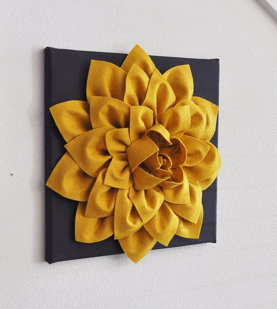 All Items Are Made To Order Please See Shop For Current Creation Time Large Mustard Dahlia Flower On Ch Hanging Flower Wall Flower Wall Art Hanging Wall Art
