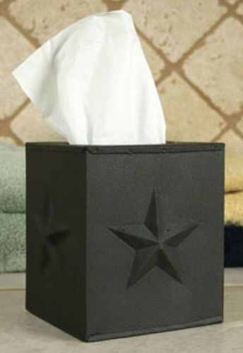 New Primitive Country Farmhouse BLACK STAR TISSUE BOX COVER Metal Kleenex Holder