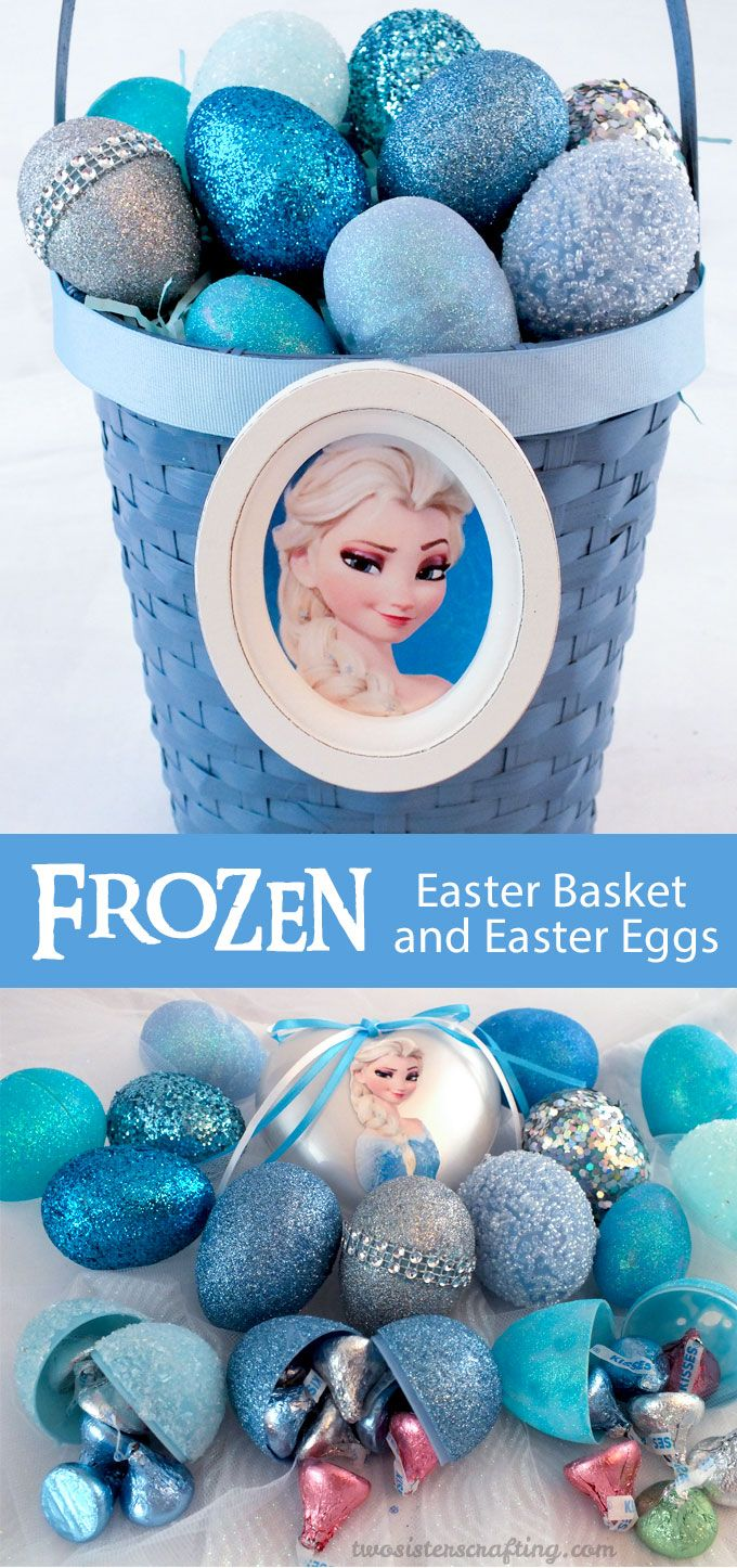 Sparkly enough for a Snow Queen, this DIY Frozen Easter Basket and Easter Eggs will be a hit with the Frozen fans in your family.  We have all the directions for making this special Easter Decoration.  For more fun Frozen projects follow us at http://www.pinterest.com/2SistersCraft/